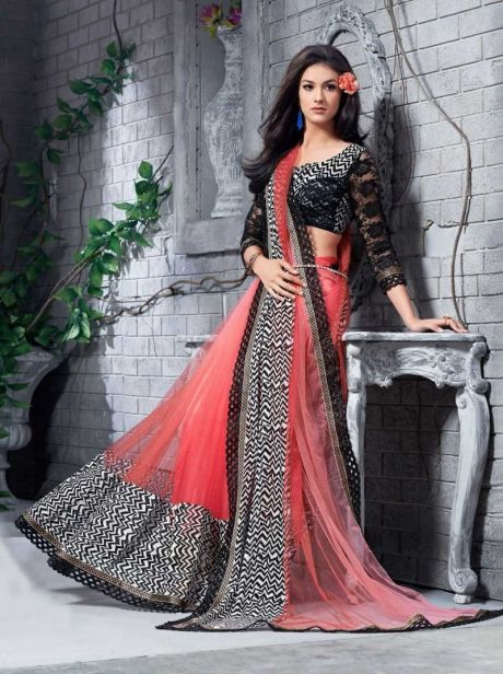 Pink & Black party wear Indian designer saree